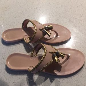 Jack Rogers dusty rose and gold flip flops